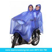 Áo mưa Poncho 2 nón trong màu không kiếng