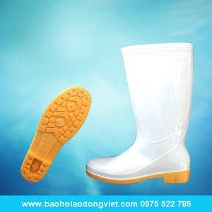 ủng nữ màu trắng đế vàng 06, ủng nhựa, ủng bảo hộ, ủng bảo hộ lao động, ủng đi mưa