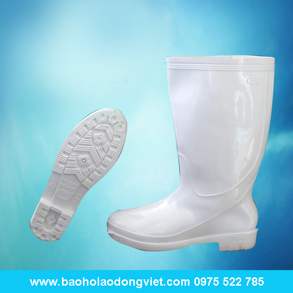 ủng nữ màu trắng 06, ủng nhựa, ủng bảo hộ, ủng bảo hộ lao động, ủng đi mưa