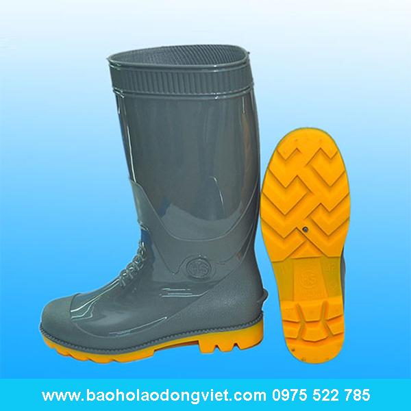 ủng nam màu ghi đế vàng 05, ủng nhựa, ủng bảo hộ, ủng bảo hộ lao động, ủng đi mưa