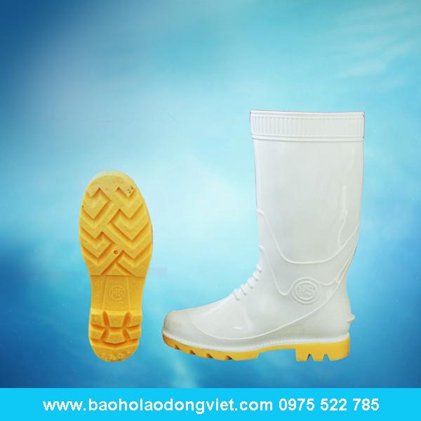 ủng nam trắng đế vàng 05, ủng nhựa, ủng bảo hộ, ủng bảo hộ lao động, ủng đi mưa
