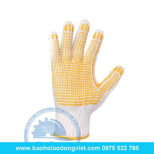 Găng tay len chấm hạt nhựa, găng tay len, găng tay bảo hộ, găng tay bảo hộ lao động