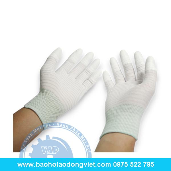 Găng tay phủ PU đầu ngón sợi Cacbon chống tĩnh điện, GĂNg tay len, găng tay phủ PU, găng tay bảo hộ, găng tay bảo hộ lao động