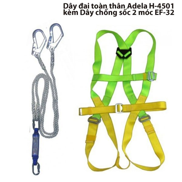 Dây đai toàn thân Adela H-4501 kèm Dây chống sốc 2 móc EF-32, H-4501 + EF-32, dây đai toàn thân Adela H-4501, Dây đai Adela H-4501, Dây đai an toàn Adela H-4501, Dây đai H-4501, Adela H-4501
